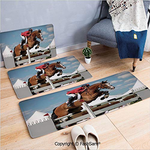 FashSam 3 Piece Non Slip Flannel Door Mat Jumping Horse and Sportsman Race Competition Performance Success Winning Event Indoor Carpet for Bath Kitchen(W15.7xL23.6 by W19.6xL31.5 by W17.7xL53)
