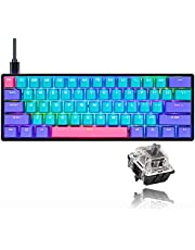 GK61 Mechanical Keyboard Gaming 60% Percent Custom SK61 Hot Swappable RGB Backlit Keyboard with PBT Keycaps NKRO Type-C for PS4 (Silver Speed Switches, Joker)
