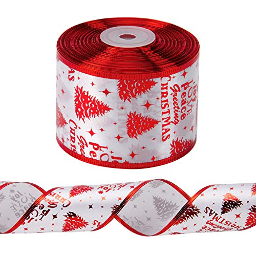 LaRibbons Wired Christmas Holiday Ribbon - 2.5 inch x 25 Yard Each Roll - Chritmas Trees and Letters - Red Wired Edge