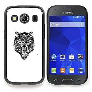 "Qstar Arte & diseño plástico duro Fundas Cover Cubre Hard Case Cover para Samsung Galaxy Ace Style LTE/ G357 (Lobo tribal loco"")"