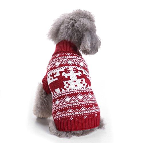 FinancePlan Pet Dog Vintage Holiday Festive Christmas Reindeer Themed Warm Sweater Cloth