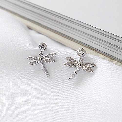 5 Silver Inlay Zircon Diamond Dragonfly Earrings earings Dangler Eardrop 5 ??Days Delivery ()