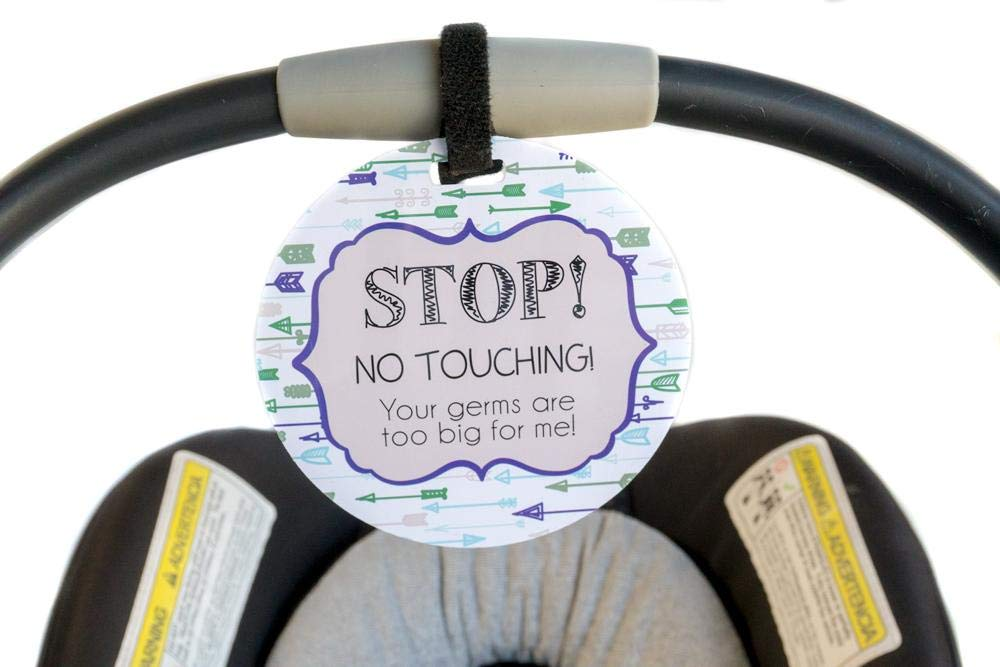 Boy Preemie sign, newborn, baby car seat tag, baby shower gift, stroller tag, baby Preemie no touching car seat sign Tags4Tots ArrowGirl