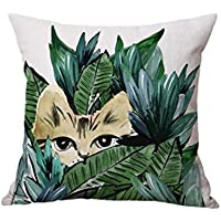 Hot Sale ! 43X43 CM Pillow Case, Ninasill Exclusive Beach Linen Parrot Cat Sofa Bed Home Decoration Festival Pillow Case Cushion Cover (D)