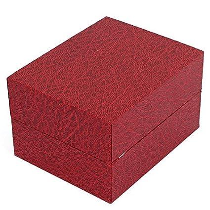 Amazon.com : eDealMax Rectangular textura reloj de pulsera caja de Regalo caja de Borgoña w Cojín : Sports & Outdoors