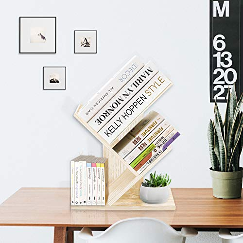 Deluxe Display Shelf - Jerry & Maggie 3 Tier Shelf Display Organizer Sloped Storage Wood Closet Multi Units Deluxe Free Stand Shelving Shelves Rack - Arrow Shaped   White Wood Tone