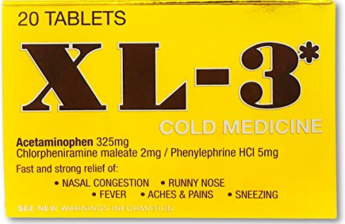 XL-3 Cold Medicine | Non-Drowsy Fast Acting Strong Flu Symptom Relief of Fever, Nasal Congestion, Sneezing, Aches, and Pains; 20 Tablets (Non Drowsy Cold Medicine For Runny Nose)
