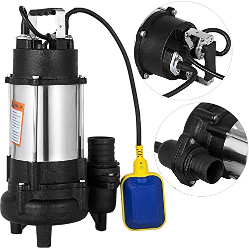 Happybuy Sewage Pump 1 HP 110V 6340 GPH 62' Lift 304 Stainless Steel Heavy Duty with 15' Cable and Piggy Back Float Switch for Family Enterprise Garden Sprinkling ()