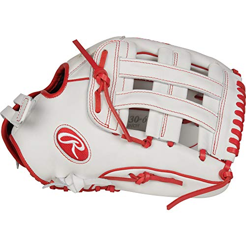 Rawlings Liberty Advanced Outfield Fastpitch Softball Glove, White/Scarlet, 13""