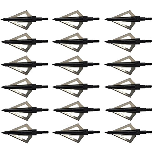 Aiskaer 18 pack 125 Grain 3 Fixed blade Hunting Broadheads Archery Arrow Hunting Points Metal Tips for Compound Bow and Crossbow