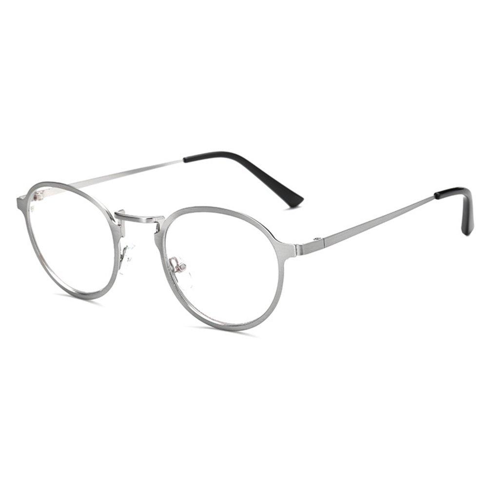 Hibote Anti Blue Light Occhiali da vista - Metal Frame Round Glasses Clear Lens Occhiali da vista Frame with Leather Glasses Case for Men Women X171116YJJ1004-X