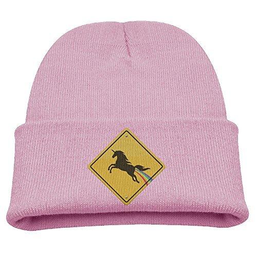 a33fd018b07 Kids Beanie Hat Rainbow Pooping Unicorn Crossing Sign Skull Cap In 4 Colors