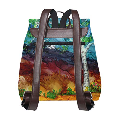 Kvinnor PU-läder träd konst ryggsäck handväska resa skola axelväska ledig dagväska