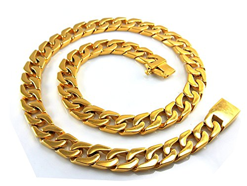 24 Ct Gold Jewellery - Dubai Collections 24K Men's Gold Cuban Link Chain Necklace 14MM Diamond Cut Heavy w Solid Thick Clasp