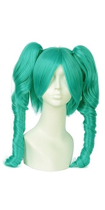 daokai® Cosplay Miku Vocaloid Cielo Azul Color rizos. Completo peluca Dos pferdeschwänzen 65 cm