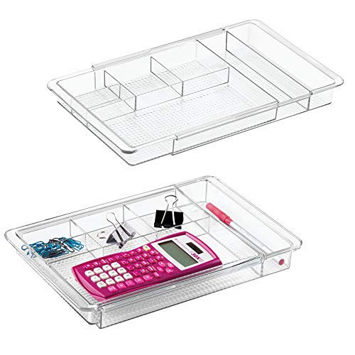 mDesign Adjustable, Expandable 7 Compartment Office Desk Drawer Organizer Tray for Office Supplies, Gel Pens, Pencils, Markers, Tape, Erasers, Paperclips, Staples - 1.25