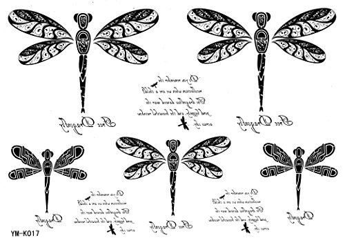 (Dragonfly Tattoo Stickers Animal Waterproof Tattoos Letters Temporary Tattoo)