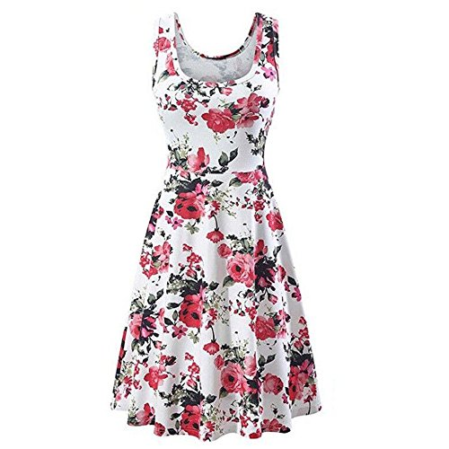 HHei_K Womens Summer Casual Boho Floral Print Sleeveless O-Neck Fit and Flare Mini Dress Tank Dress Pink