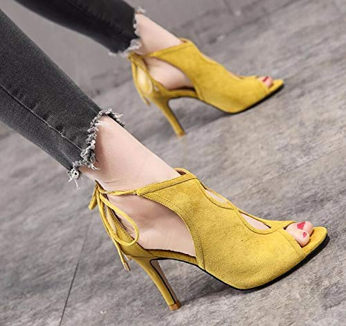 Fish Thirty Yellow Shoes Mouth Sandals Boots Tie Rome Four Fine Cold Joker KPHY Suede Sexy Summer Women'S qUFHwH