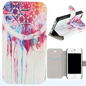 Pintura al óleo Eolias Campanas Patrón Clamshell PU Leather Case cuerpo completo con ranura para tarjeta para el iPhone 4/4S