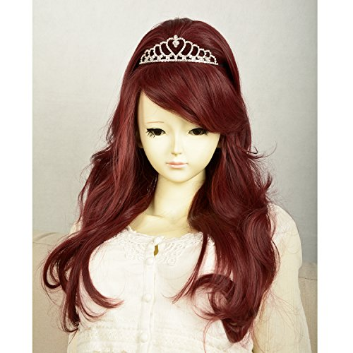 Liz Wig Barbie Style Long Wavy Cosplay Wig 26'' (Wine Red) (Jane Fonda Wigs)
