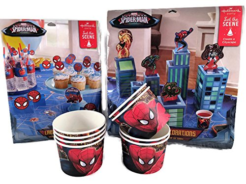 Spiderman Party Table Decorating Kit, Food and Drink Labeling Kit and Snack Cups - Bundle Labeling