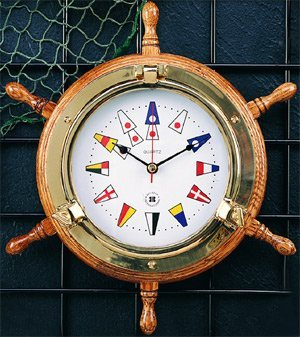 Bey-Berk Brass Porthole Clock on Oak Ships Wheel with Nautical Numbers - Tarnish Proof