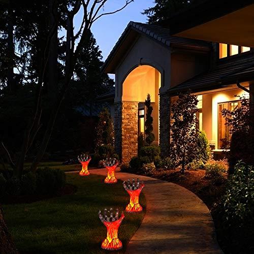 MAOKOT Halloween Solar Lights, Flickering Flame Solar Lights Outdoor, Burning Witch Hand Halloween Decorative Lights for Garden, Lawn,2 Pack