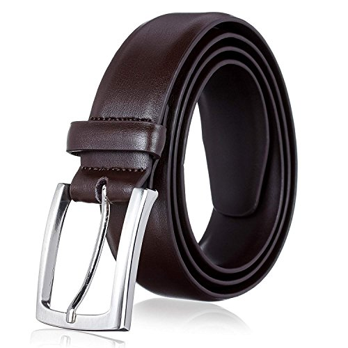 Men's Genuine Leather Dress Belt with Premium Quality (40/42, Everyday Brown) (Brown Leather Quality)