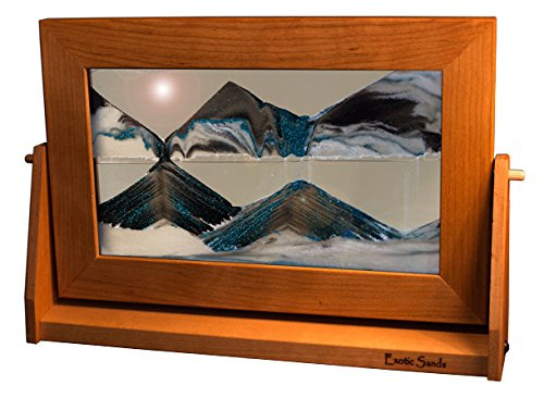 Exotic Sands SAND PICTURES -Americas Favorite Father's Day Gift - Framed Sand Art - Lg24 Large Cherry Frame (Arctic Glacier) Handcrafted in USA. Voted best Unique Gift!