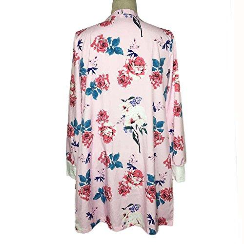 ESAILQ Otoño Mujer manga larga impresa camisas Shawl Kimono Cardigan Tops cubrir Blusa Prendas de abrigo rosado