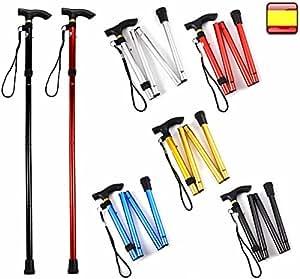 Baston plegable para andar altura regulable aluminio baston de apoyo 6 colores (PLATA)