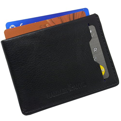 Hammer Anvil Mens Minimalist Front Pocket Wallet RFID Safe Leather Easy Pull Tab (Hammer Textured Center)