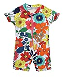 #7: beautyin Baby Girls Floral Rash Guard Swimsuit Short Sleeve Bathing Suit