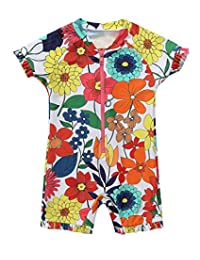BeautyIn Girls Rash Guard Short Sleeve Swimming Costume Floral Swimsuits