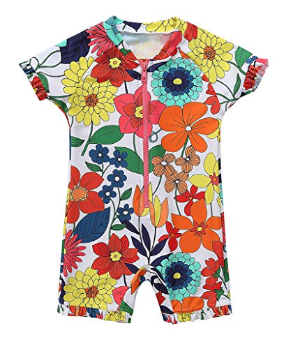 - BeautyIn Girls Rash Guard Short Sleeve Swimsuits Floral Swimwear, 2-3Yrs, Color #1(fulfilled by Amazon)
