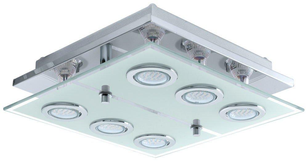 Deckenleuchte LED 18 Watt Deckenlampe Leuchte Wohnzimmer Glas Edelstahl Flur Eglo 13551 Amazonde Beleuchtung