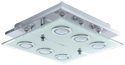Deckenleuchte LED 18 Watt Deckenlampe Leuchte Wohnzimmer Glas Edelstahl Flur Eglo 13551