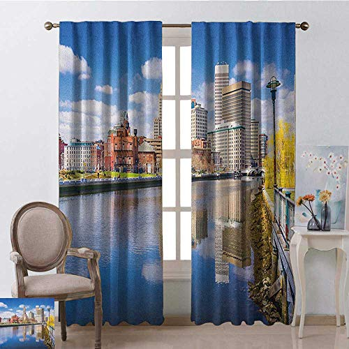 youpinnong United States, Curtains Set of 2, Providence Rhode Island Riverfront Spring Season Water Reflection Buildings, Curtains and Drapes for Living Room, W72 x L84 Inch, Multicolor