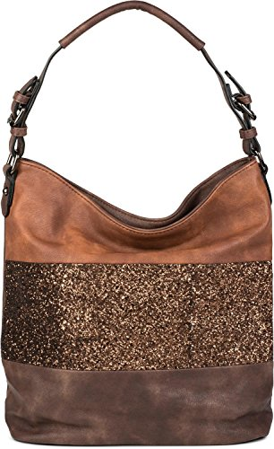 brown bag 02012181 Dark handbag shoulder ladies bag hobo 2 stripes bag bag sequin color with elegant brown pink shopping colour styleBREAKER taupe Dusky xwqgB7x
