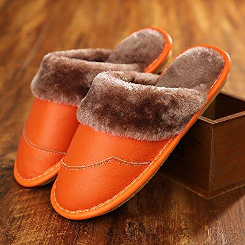 le 37 cotone donne pelle ragazza pattini pelle slittamento spessa Pantofole pantofole n di fondo indoor in in accoppiano anti di gli rimanere cotone 36 26 uomini e arancione inverno a nervatura tra X6XqZxw