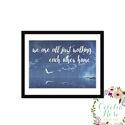 We Are All Just Walking Each Other Home Ram Dass Typography Farmhouse Inspirational Quote Upcycled Vintage Book Page Unframed 5x7 Print