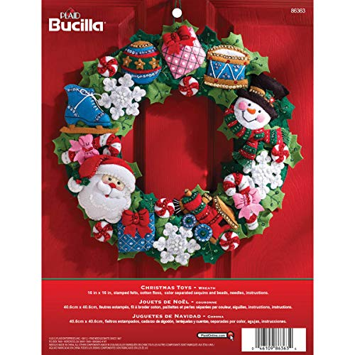 (Bucilla Felt Applique Wall Hanging Wreath Kit, 15 by 15-Inch, 86363 Christmas Toys)