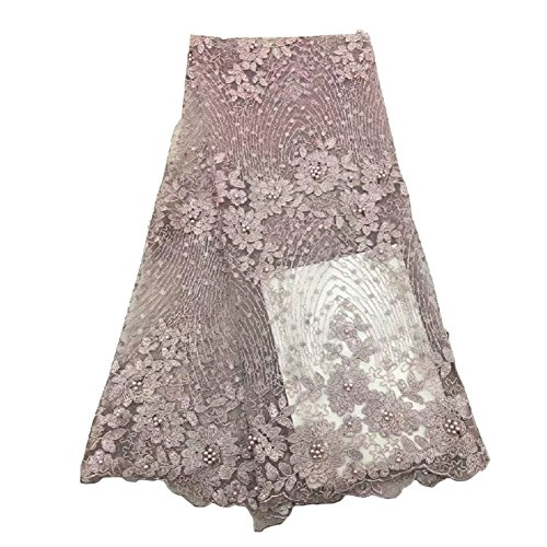 Good Quality African Lace Fabric with Beads Beautiful Tulle Lace Material for Weddinf Party Dress