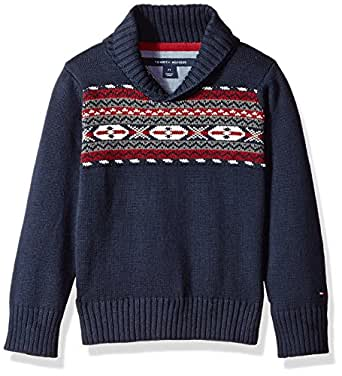 Tommy Hilfiger Boys' Toddler Pullover Shawl Sweater, Swim Navy, 2T