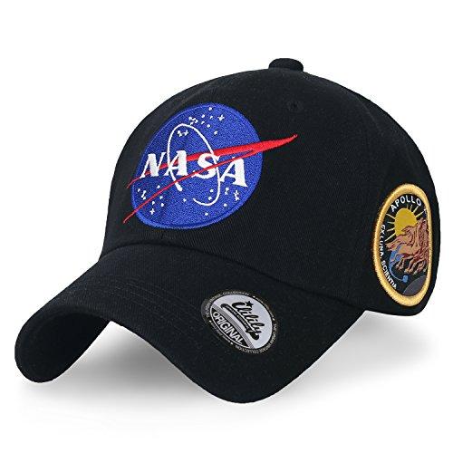 ililily NASA Meatball Logo Embroidery Baseball Cap Apollo 13 Patch Trucker Hat, Black -