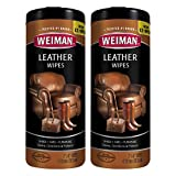 Weiman Leather Wipes -Clean Condition UV Protection Help Prevent Cracking or Fading of Leather Couches, Car Seats, Shoes