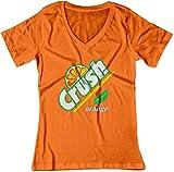 sodas crush - BSW Women's Orange Crush Carbonated Soda Beverage Vintage V-Neck Med Orange