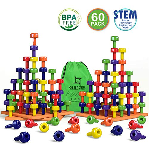 Stacking Peg Board Set Toy | Jumbo Pack | Montessori Occupational Therapy Early Learning for Fine Motor Skills, Ideal for Toddlers and Preschooler, Includes 60 Plastic Pegs & 3 Boards | Storage Ba