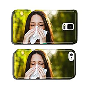 Woman blowing nose in nature cell phone cover case Samsung S6